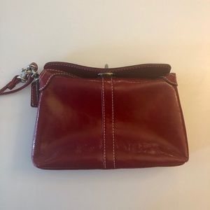 Red Leather Coach clutch/wristlet